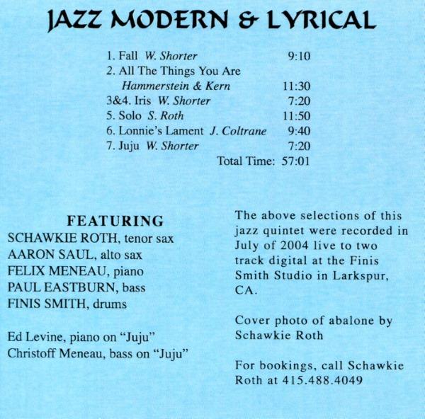 Album Notes -- Jazz Modern and Lyrical